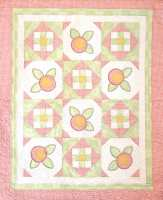 Baby Rosebuds-baby quilt, rose, fusible applique, childrens quilts