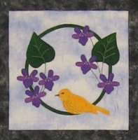 Yellow Warbler and Violets